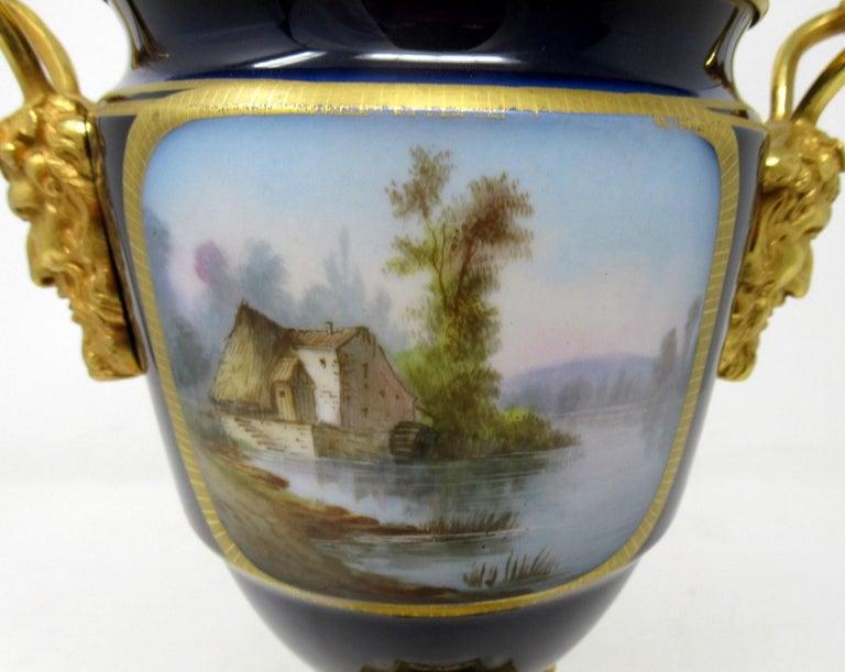 19th Century Antique French Sèvres Porcelain Ormolu Gilt Bronze Urn Vase Potpourri For Sale