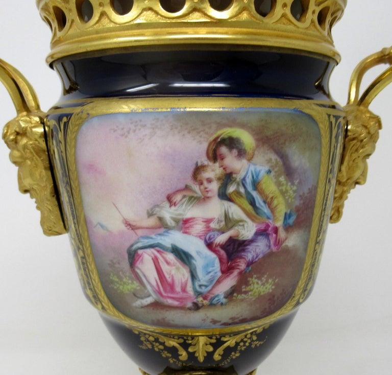 Ceramic Antique French Sèvres Porcelain Ormolu Gilt Bronze Urn Vase Potpourri For Sale