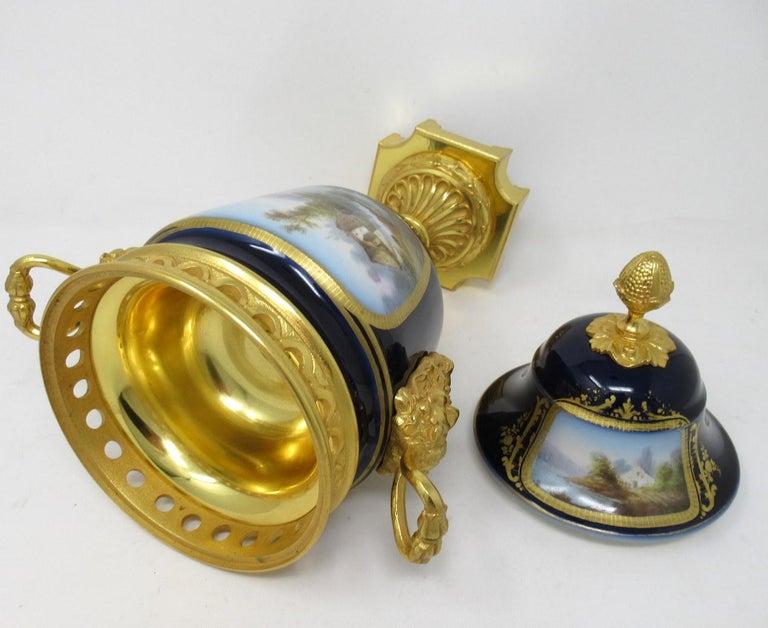 Antique French Sèvres Porcelain Ormolu Gilt Bronze Urn Vase Potpourri For Sale 3