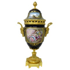Antique French Sèvres Porcelain Ormolu Gilt Bronze Urn Vase Potpourri