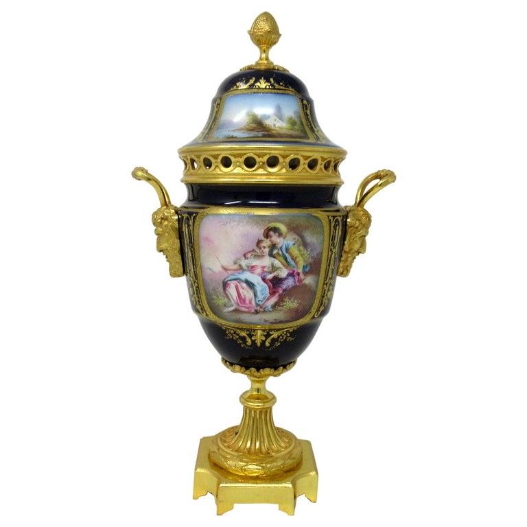 Antique French Sèvres Porcelain Ormolu Gilt Bronze Urn Vase Potpourri For Sale