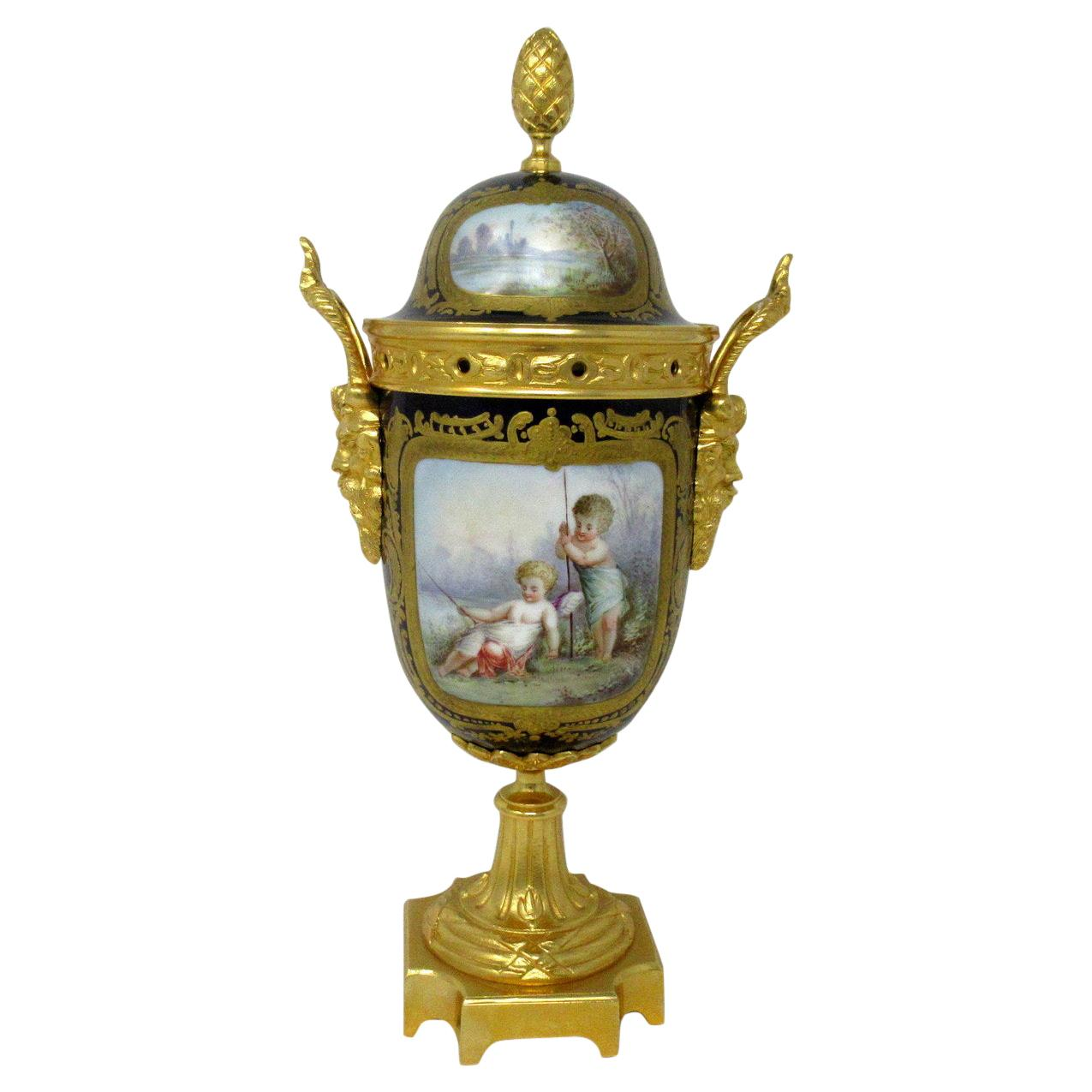 Antique French Sèvres Porcelain Ormolu Gilt Bronze Urn Vase Potpourri Cobalt