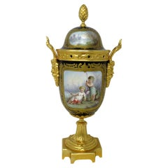 Antique French Sèvres Porcelain Ormolu Gilt Bronze Urn Vase Potpourri Cobalt
