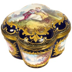 Antique French Sèvres Porcelain Quatrefoil Casket, 19th Century