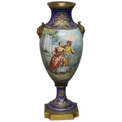 Antique French Sevres School Painted and Gilt Pictorial Urn, Artist Signed