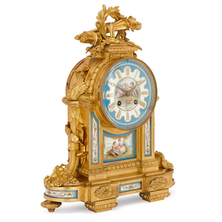 The combination of sumptuous, lustrous ormolu and finely decorated Sevres style porcelain makes this mantel clock an exceptional piece. Built in France and retailed by the prestigious London-based jewellery firm Howell James & Co in the 19th