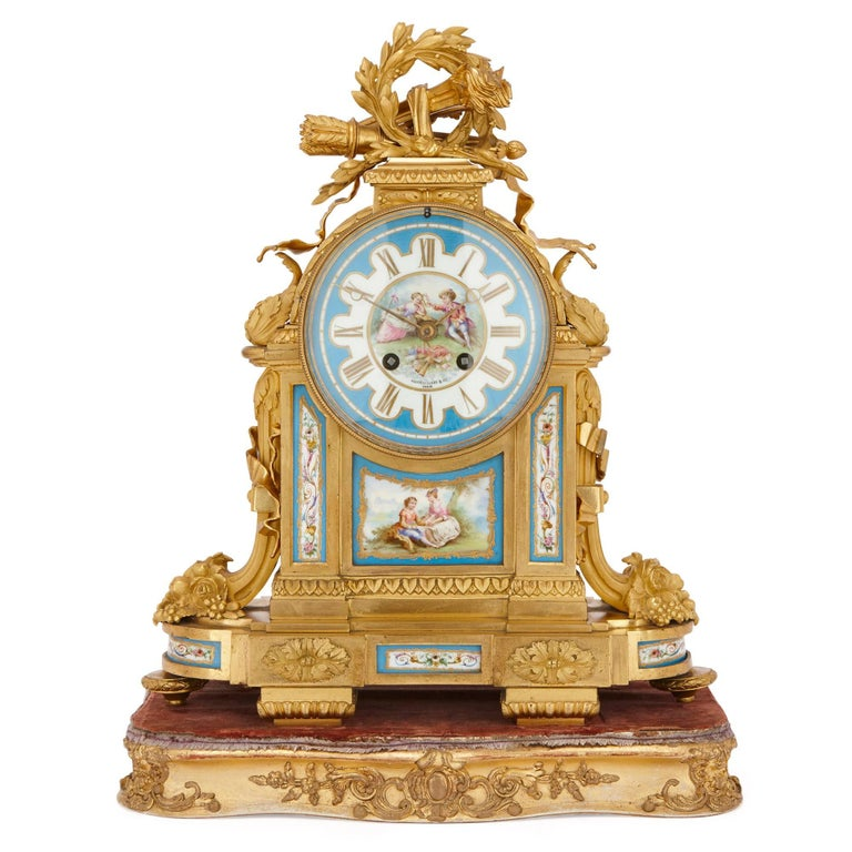 Neoclassical Antique French Sevres Style Porcelain and Gilt Bronze Mantel Clock For Sale