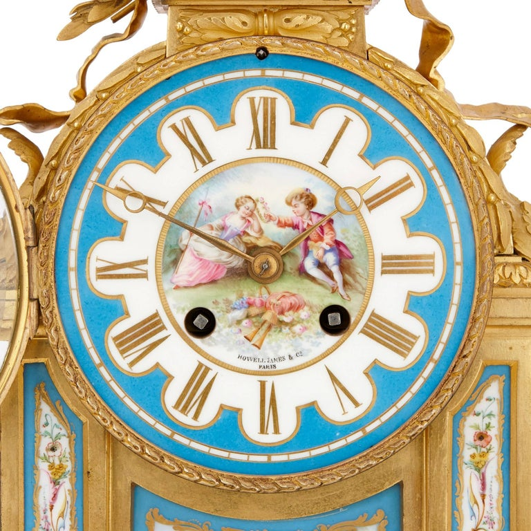 Antique French Sevres Style Porcelain and Gilt Bronze Mantel Clock In Excellent Condition For Sale In London, GB