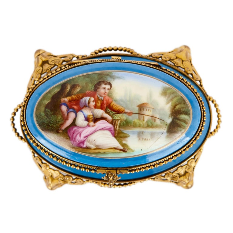 Rococo Antique French Sevres Style Porcelain Perfume Box