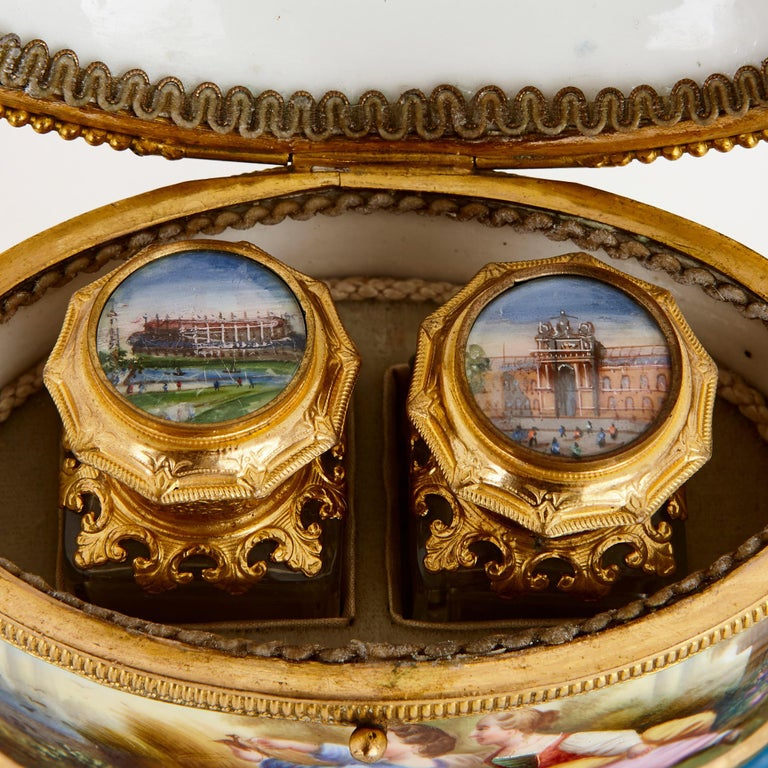 Gilt Antique French Sevres Style Porcelain Perfume Box