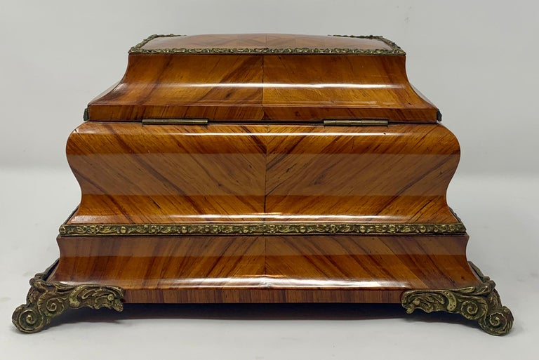 Antique French shaped kingwood jewel box, circa 1850s