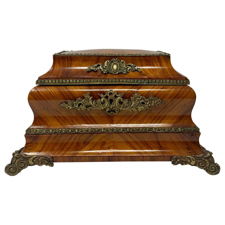 Antique French Shaped Kingwood Jewel Box, circa 1850s For Sale