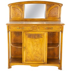 Antique French Sideboard, Art Nouveau Walnut Sideboard, France, 1900