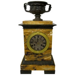 Antique French Sienna Marble Clock Silk Suspension Warwick Urn by Honoré Pons