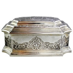 Antique French Silver 19th Century Box with Decorative Engravings