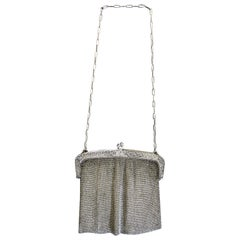 Antique French Silver 19th Century Chain Purse