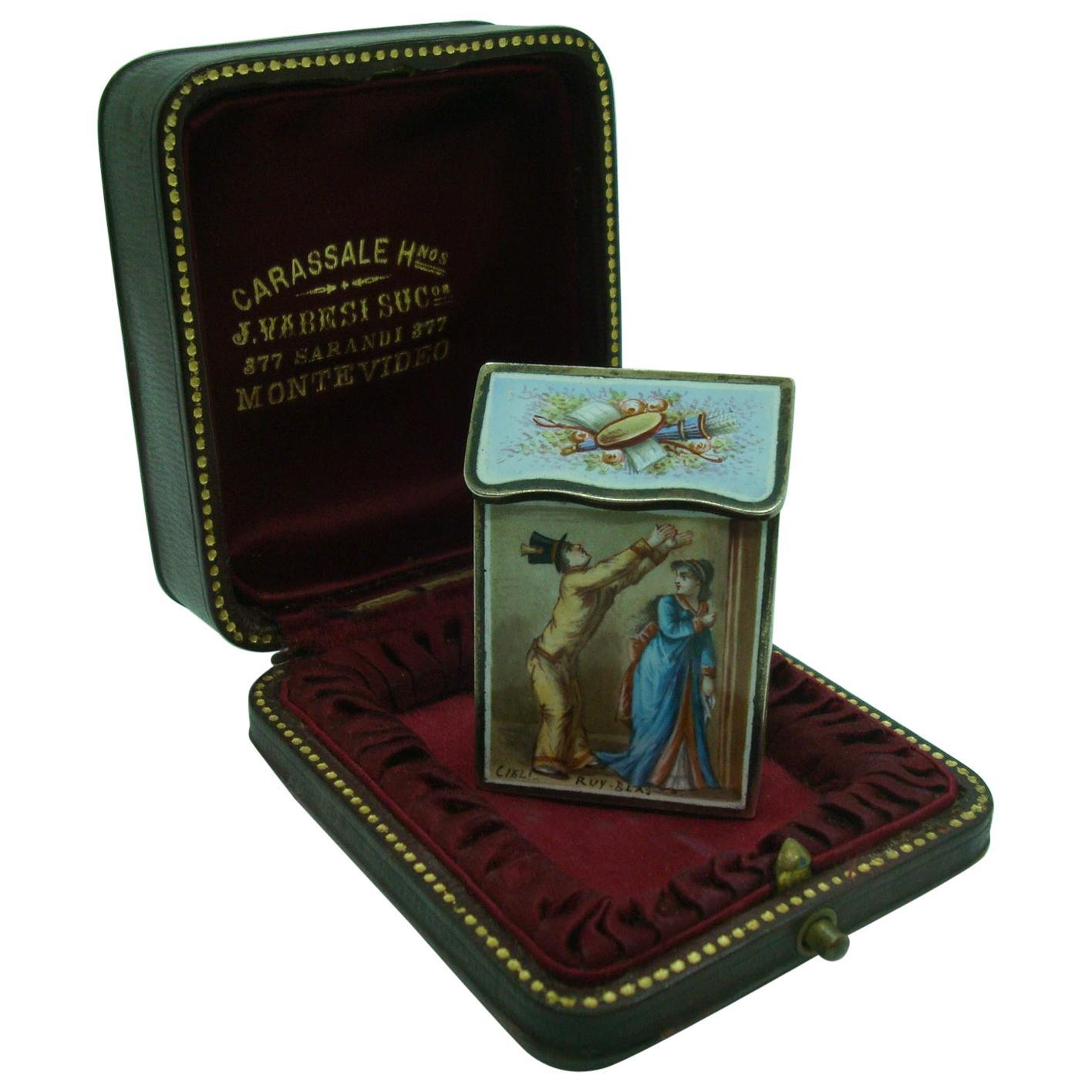 Antique French Silver and Enamel Vesta Case / Box, circa 1895