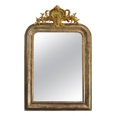 Antique French Silver and Gold Leaf Gilded Louis Philippe Mirror