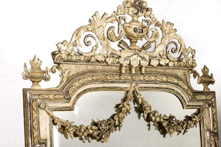 Louis XVI Antique French Silver and Gold Leaf Louis Seize Mirror with Floral Garlands For Sale