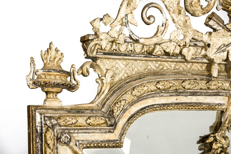 Antique French Silver and Gold Leaf Louis Seize Mirror with Floral Garlands In Good Condition For Sale In Casteren, NL