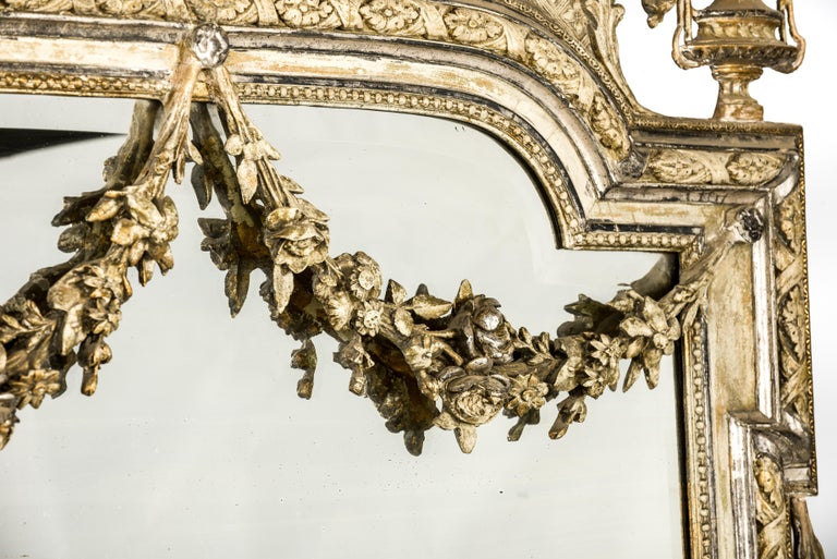 Silver Leaf Antique French Silver and Gold Leaf Louis Seize Mirror with Floral Garlands For Sale