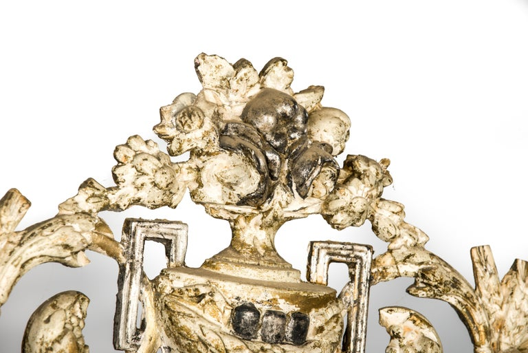 Antique French Silver and Gold Leaf Louis Seize Mirror with Floral Garlands For Sale 3