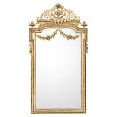 Antique French Silver and Gold Leaf Louis Seize Mirror with Floral Garlands