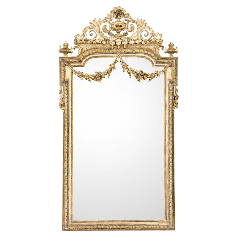 Antique French Silver and Gold Leaf Louis Seize Mirror with Floral Garlands For Sale