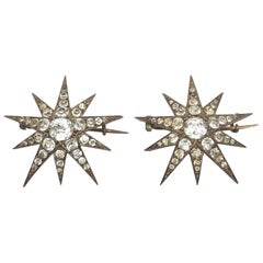 Antique French Silver and Paste Star Brooches
