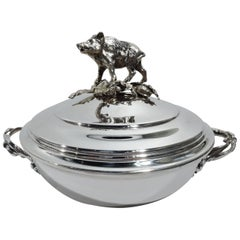 Antique French Silver Covered Serving Bowl with Boar Finial