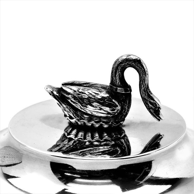 Antique French Silver & Cut Glass Caviar Serving Set Dish Bowl, c. 1910 8