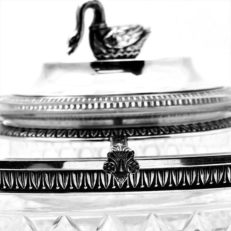 Antique French Silver & Cut Glass Caviar Serving Set Dish Bowl, c. 1910 11