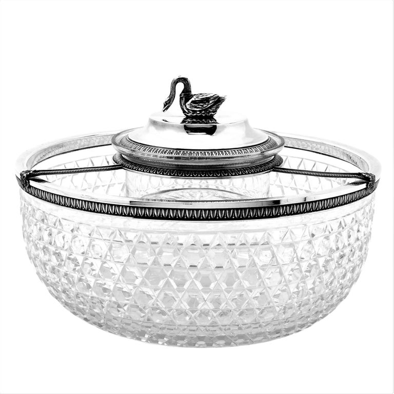 A beautiful antique French solid silver mounted cut glass caviar serving set. The large bowl has Classic hobnail pattern glass with an elegant silver rim, patterned with a subtle stylised leaf pattern. This pattern is mirrored on the removable Stand