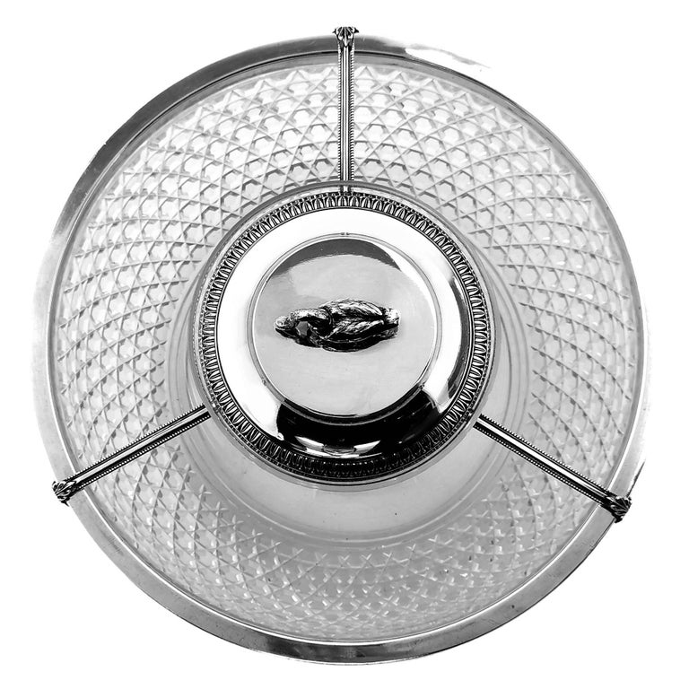 European Antique French Silver & Cut Glass Caviar Serving Set Dish Bowl, c. 1910