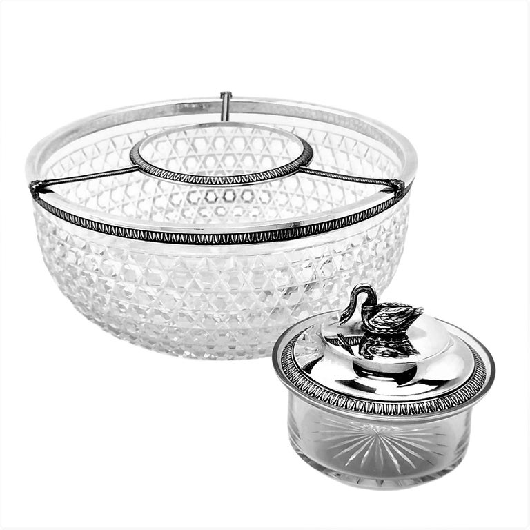 Antique French Silver & Cut Glass Caviar Serving Set Dish Bowl, c. 1910 In Good Condition In London, GB