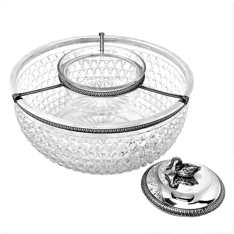 20th Century Antique French Silver & Cut Glass Caviar Serving Set Dish Bowl, c. 1910