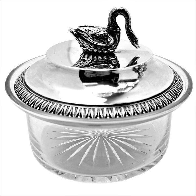 Antique French Silver & Cut Glass Caviar Serving Set Dish Bowl, c. 1910 1