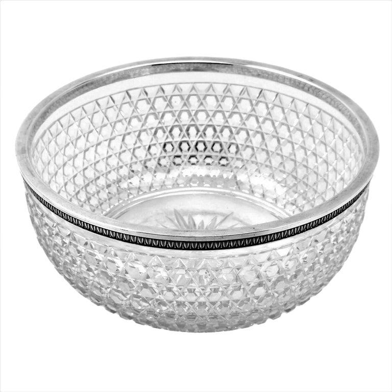 Antique French Silver & Cut Glass Caviar Serving Set Dish Bowl, c. 1910 2