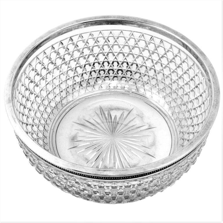 Antique French Silver & Cut Glass Caviar Serving Set Dish Bowl, c. 1910 3