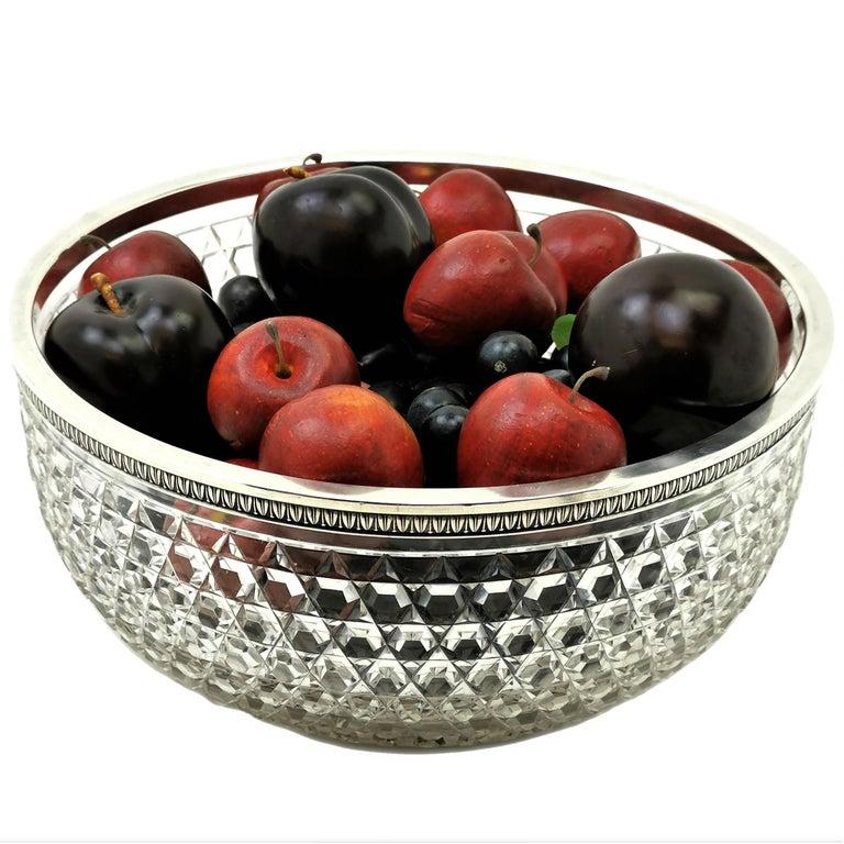 Antique French Silver & Cut Glass Caviar Serving Set Dish Bowl, c. 1910 4