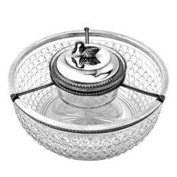 Antique French Silver & Cut Glass Caviar Serving Set Dish Bowl, c. 1910