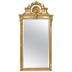 Antique French Silver Leaf and Gold Eclectic Mirror with Peacock and Angels