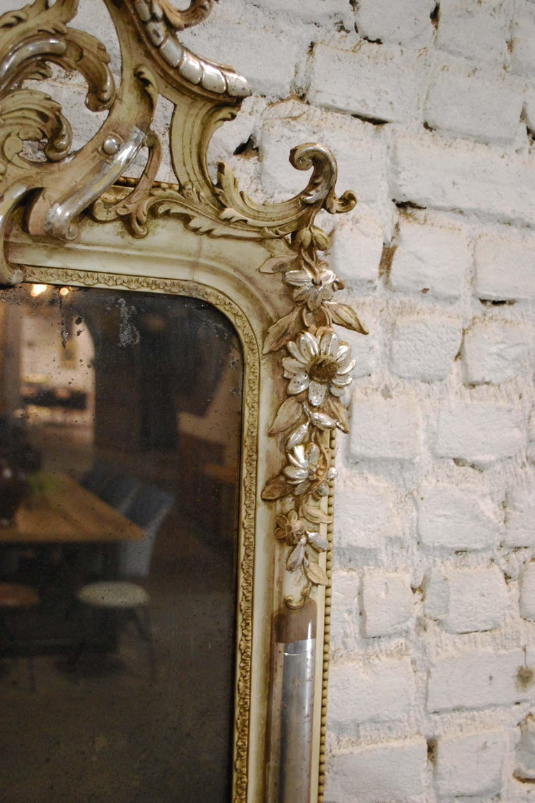 Gesso Antique French Silver Leaf Gilded Louis Philippe Mirror with an Ornate Crest For Sale