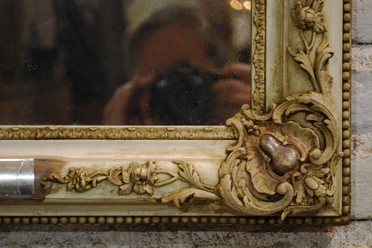 Antique French Silver Leaf Gilded Louis Philippe Mirror with an Ornate Crest For Sale 3