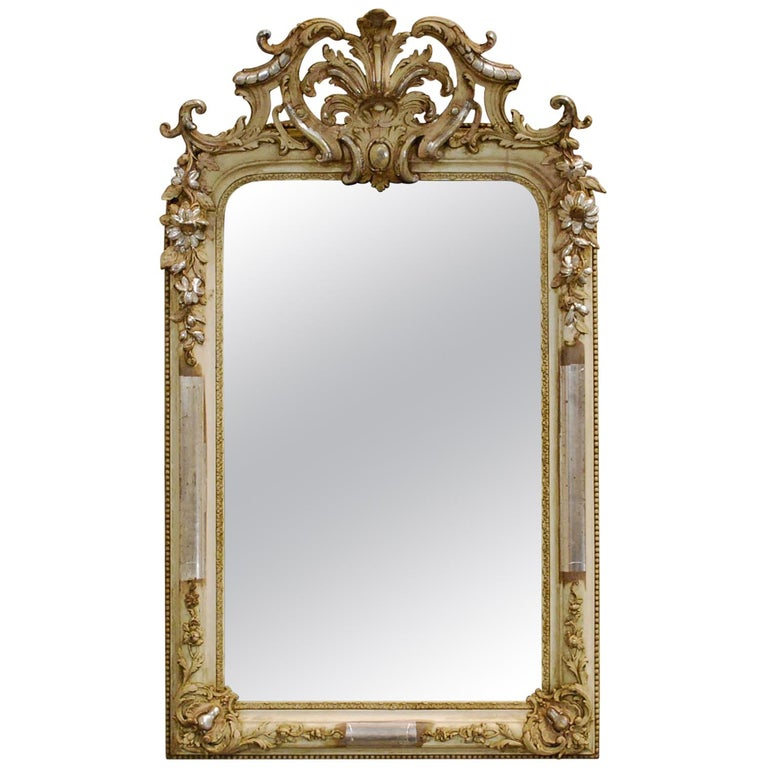 Antique French Silver Leaf Gilded Louis Philippe Mirror with an Ornate Crest For Sale