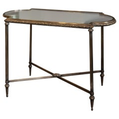 Antique French Silver Metal Christofle Table with Mirrored Top