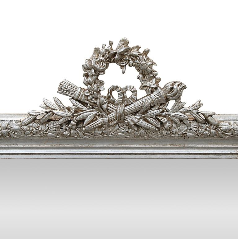 Louis XVI Antique French Silver Mirror with Pediment, circa 1900 For Sale