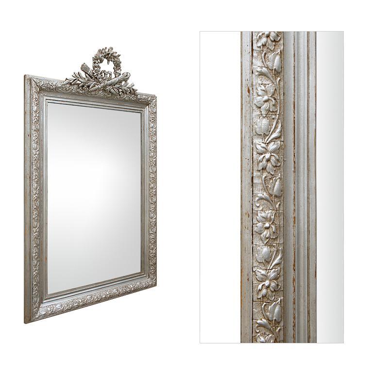 Gilt Antique French Silver Mirror with Pediment, circa 1900 For Sale