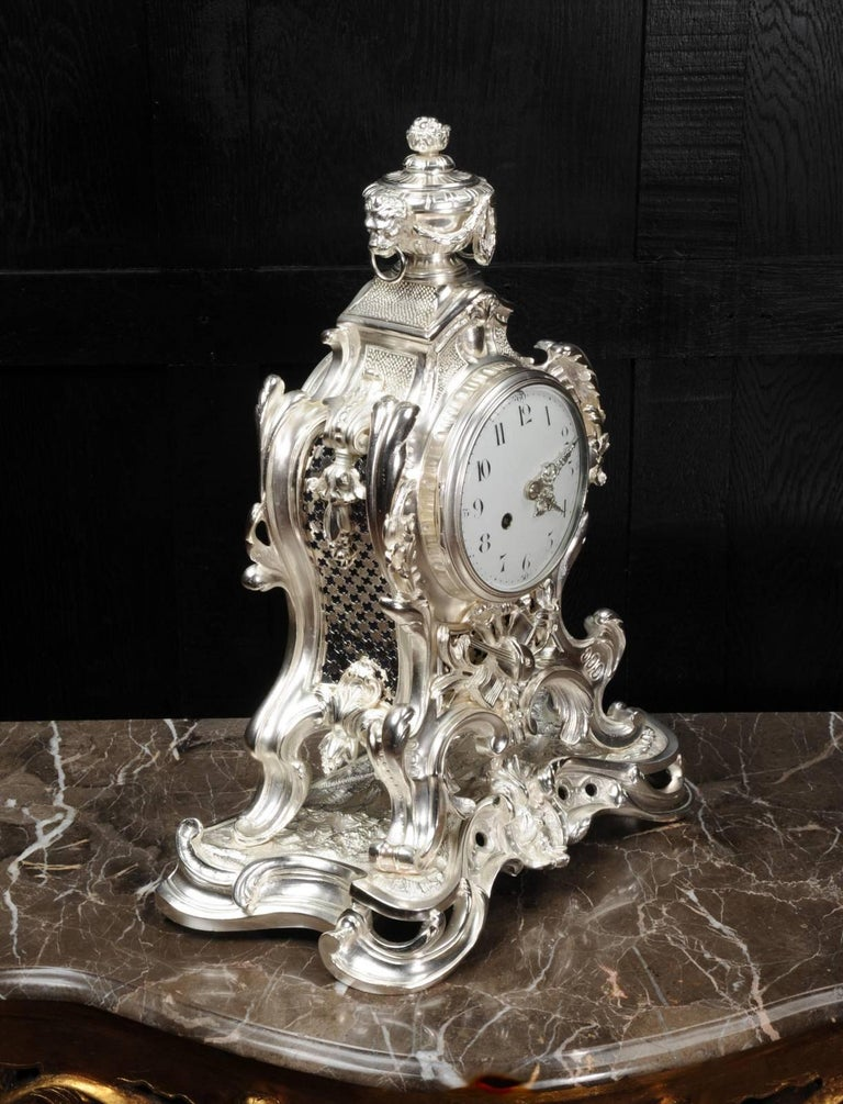 Antique French Silver Rococo Clock ~ Music For Sale 4