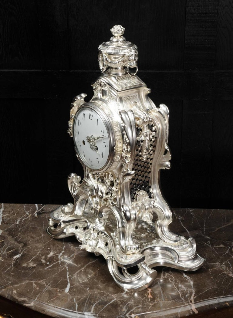 Antique French Silver Rococo Clock ~ Music For Sale 5